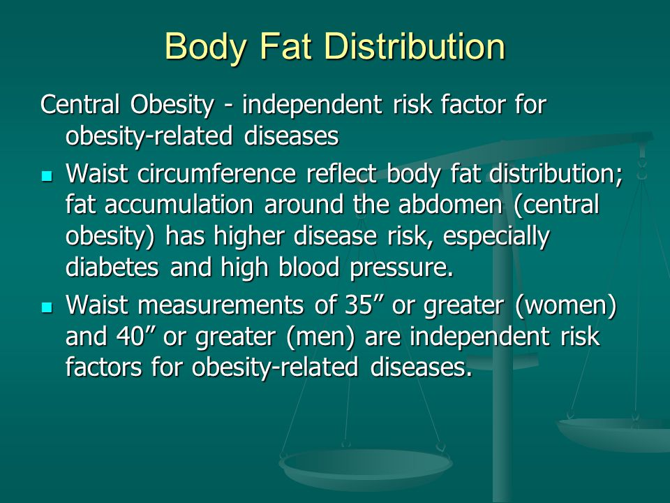Body Fat Distribution Central Obesity - independent risk factor for obesity-related diseases.