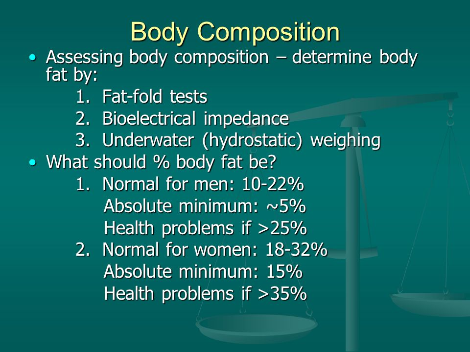 Body Composition Assessing body composition – determine body fat by: