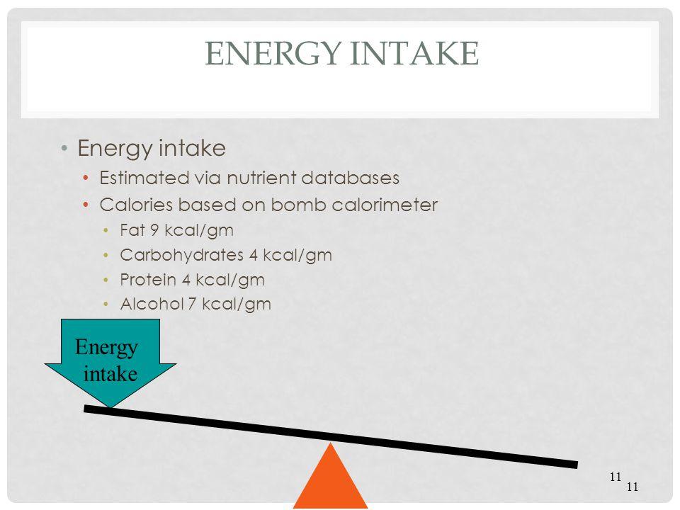 Energy Intake Energy intake Energy intake