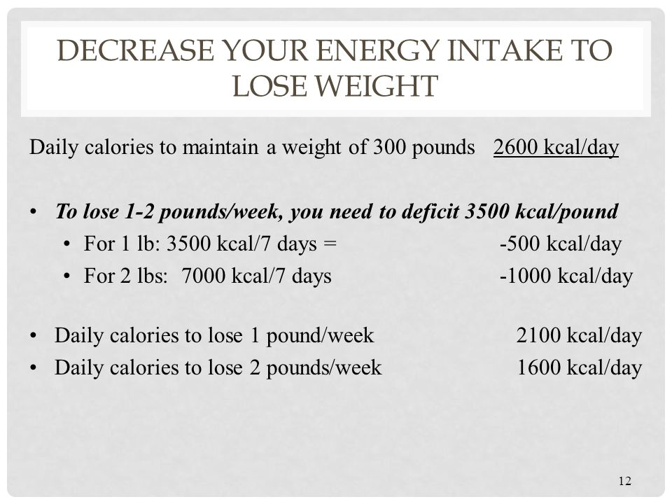 Decrease your energy intake to lose weight