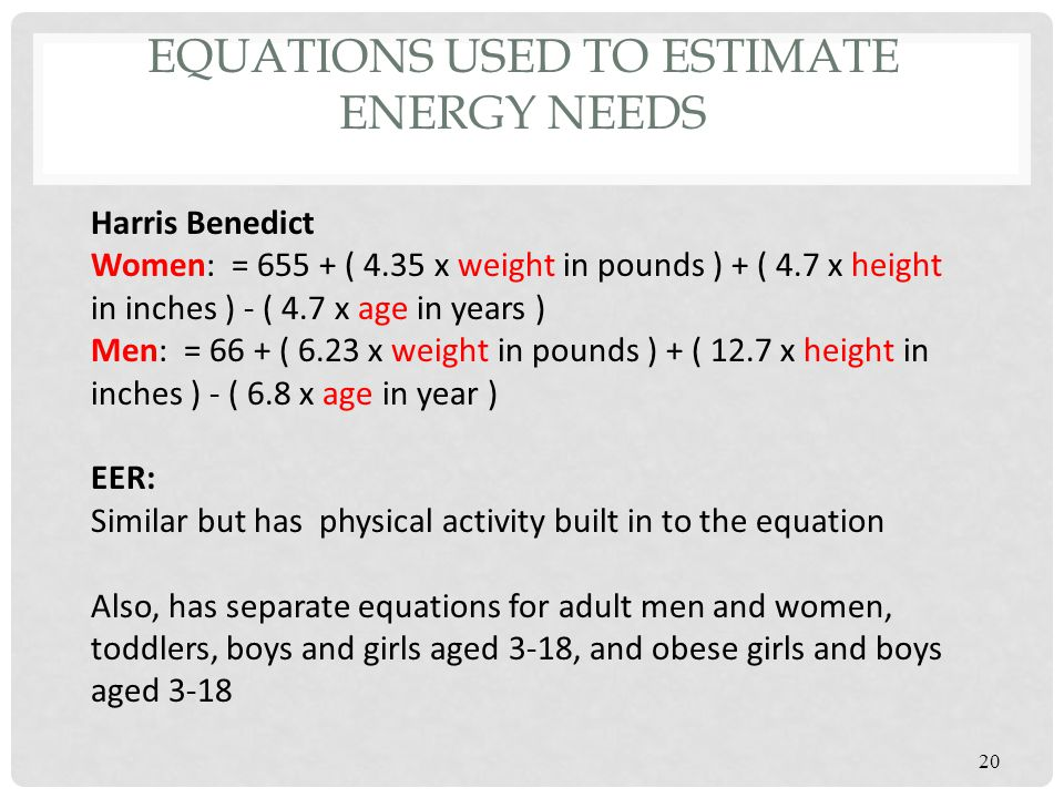 Equations used to estimate energy needs