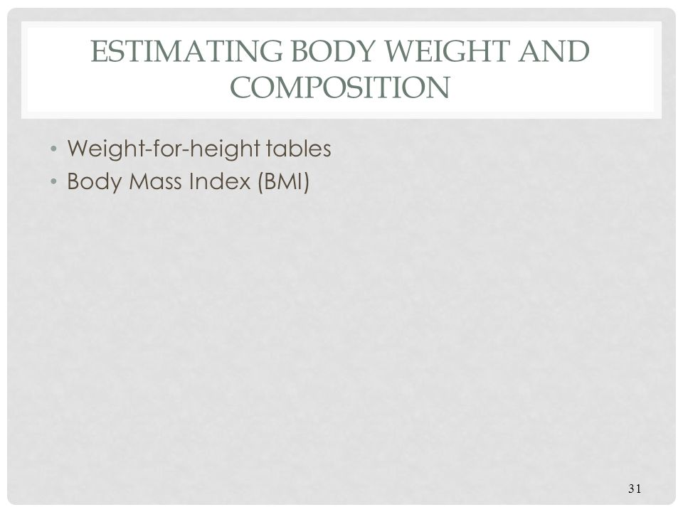 Estimating Body Weight and Composition