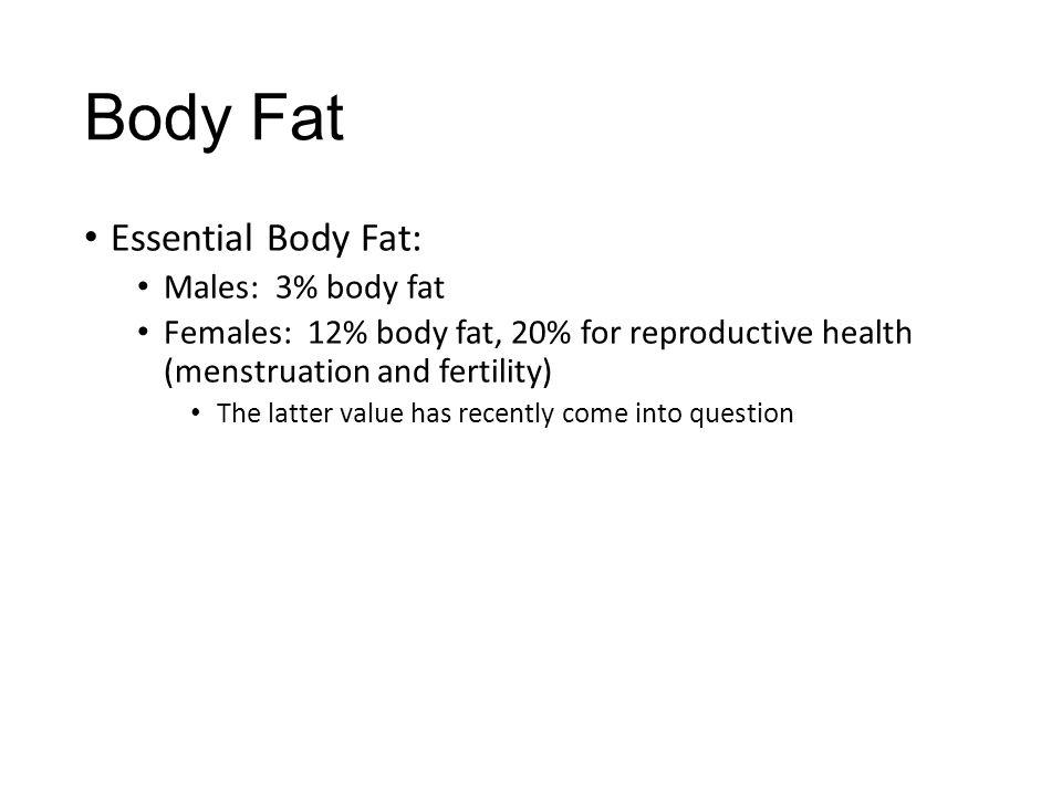 Body Fat Essential Body Fat: Males: 3% body fat