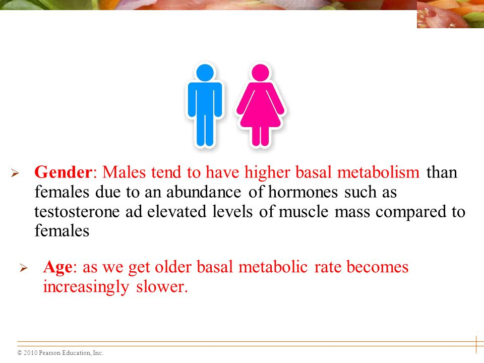 Gender: Males tend to have higher basal metabolism than females due to an abundance of hormones such as testosterone ad elevated levels of muscle mass compared to females