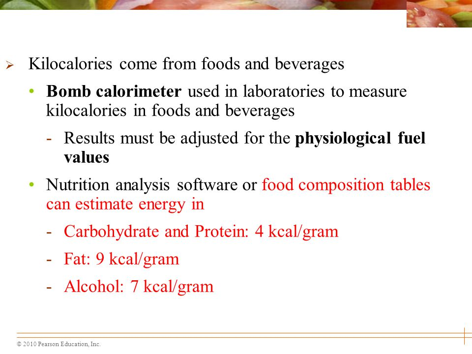 Kilocalories come from foods and beverages