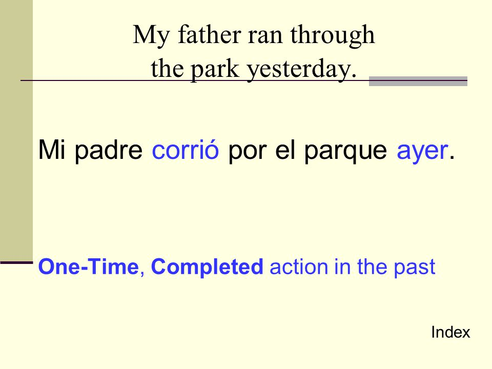 My father ran through the park yesterday.