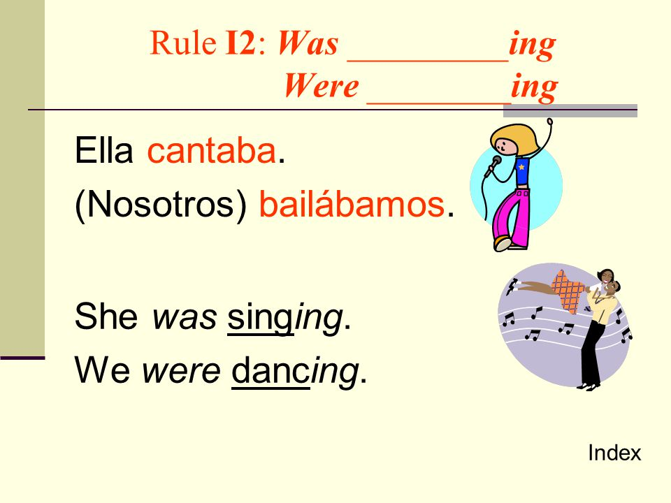 Rule I2: Was _________ing Were ________ing