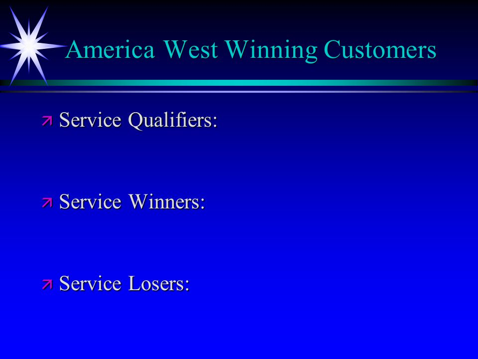 America West Winning Customers
