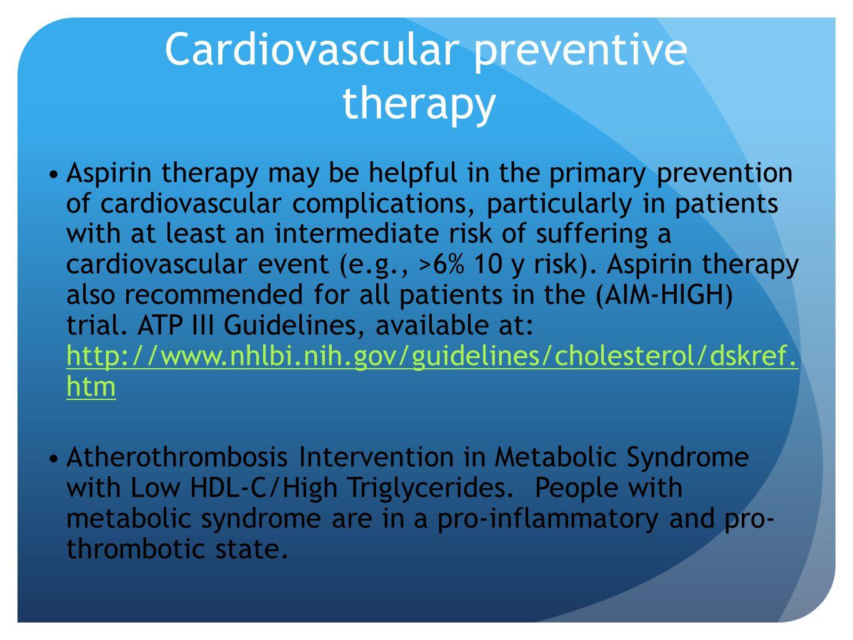 Cardiovascular preventive therapy