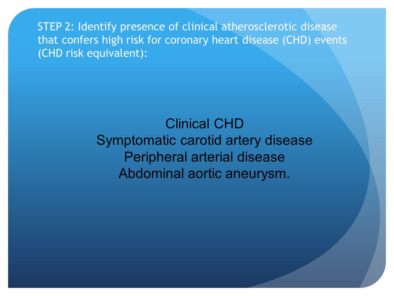 Symptomatic carotid artery disease Peripheral arterial disease