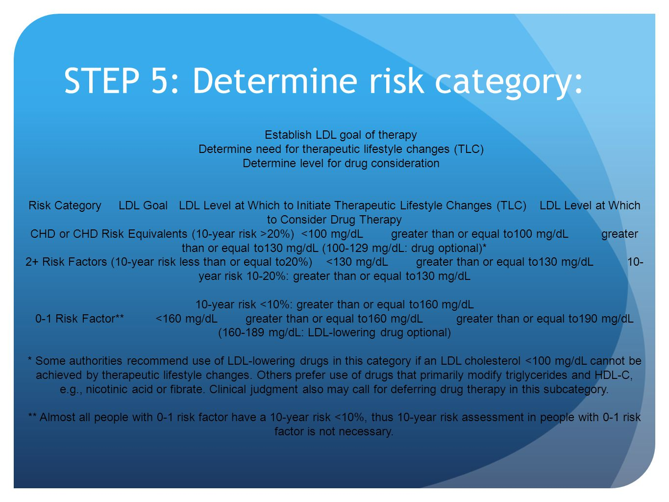 STEP 5: Determine risk category: