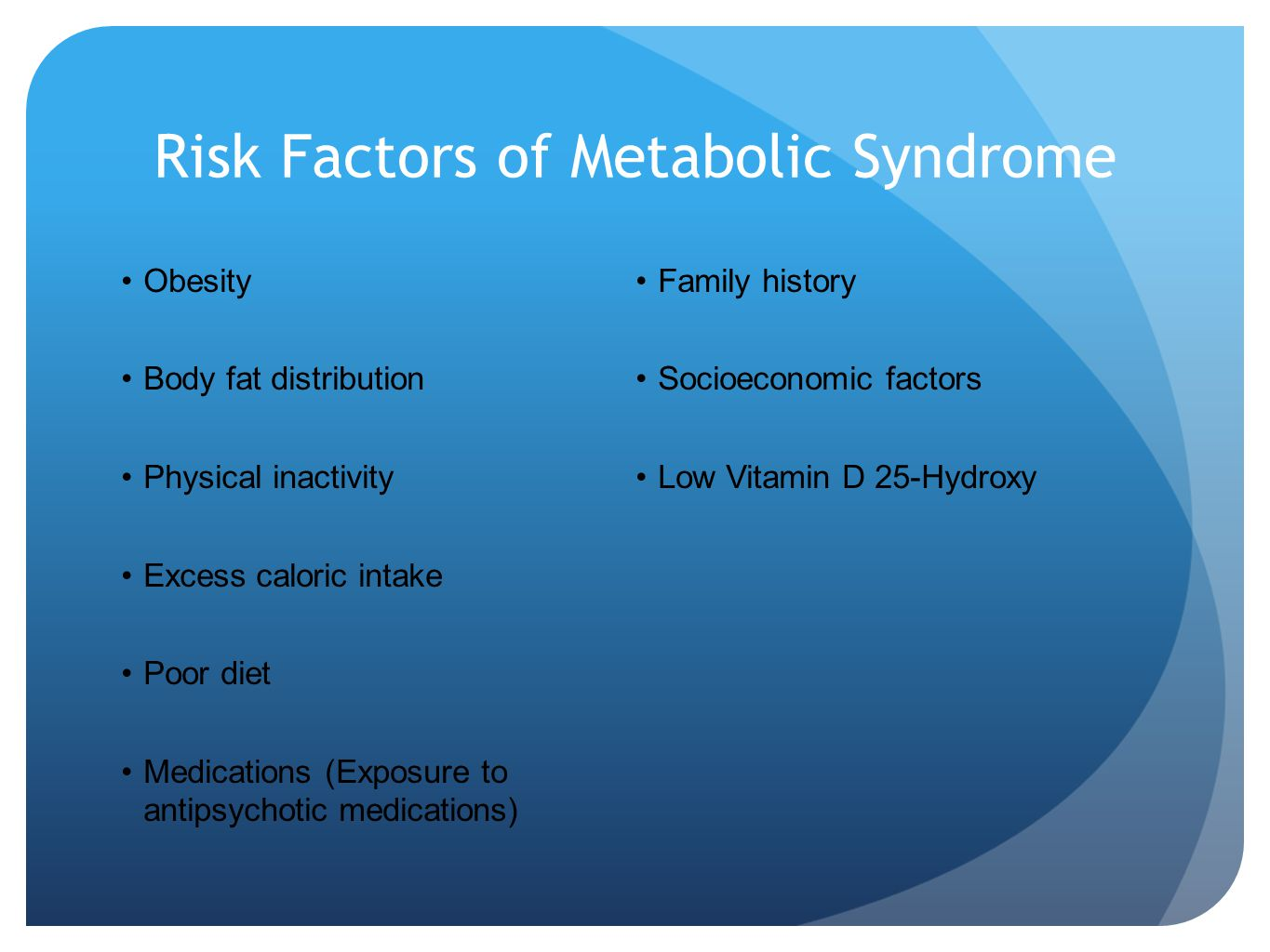Risk Factors of Metabolic Syndrome