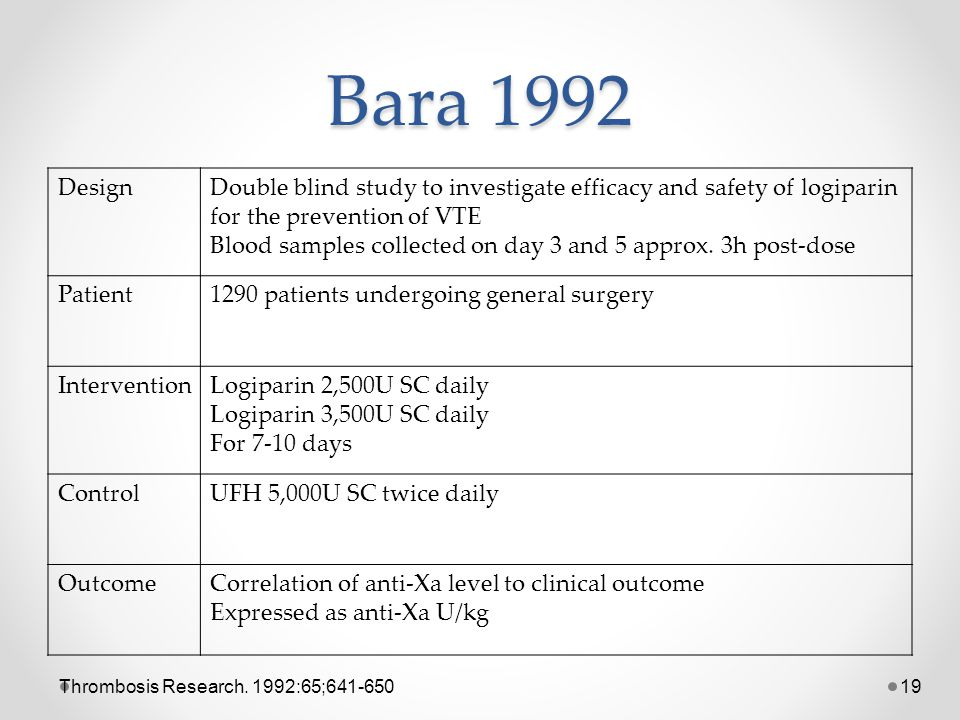 Bara 1992 Design. Double blind study to investigate efficacy and safety of logiparin for the prevention of VTE.