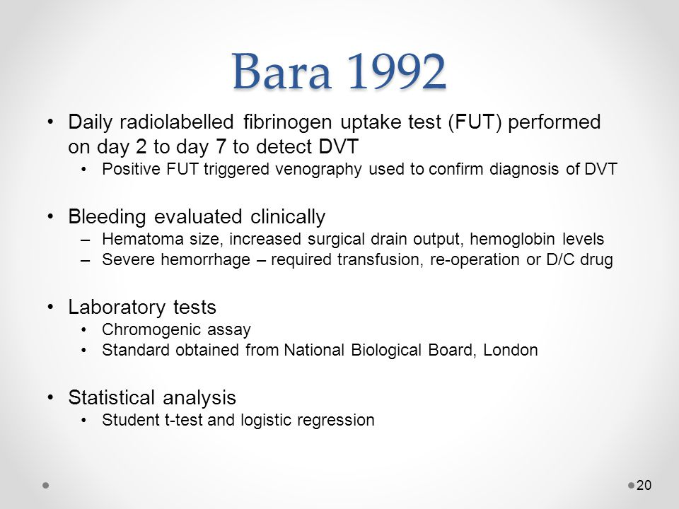 Bara 1992 Daily radiolabelled fibrinogen uptake test (FUT) performed on day 2 to day 7 to detect DVT.