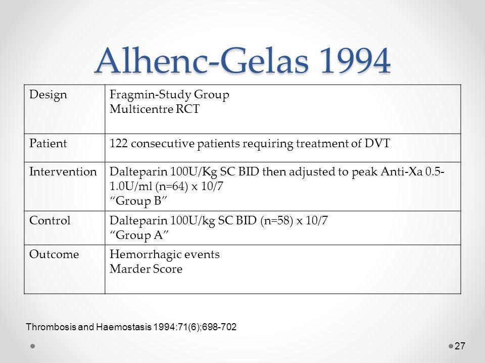 Alhenc-Gelas 1994 Design Fragmin-Study Group Multicentre RCT Patient