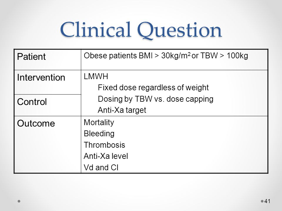 Clinical Question Patient Intervention Control Outcome