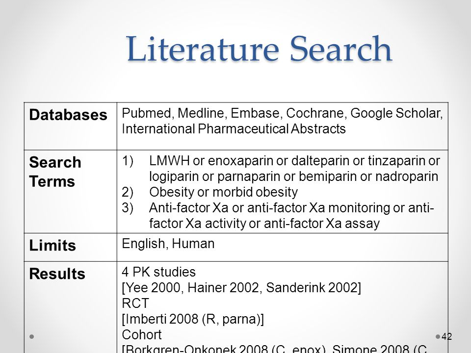 Literature Search Databases Search Terms Limits Results