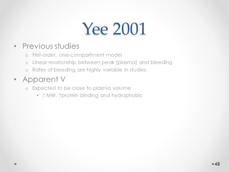 Yee 2001 Previous studies Apparent V