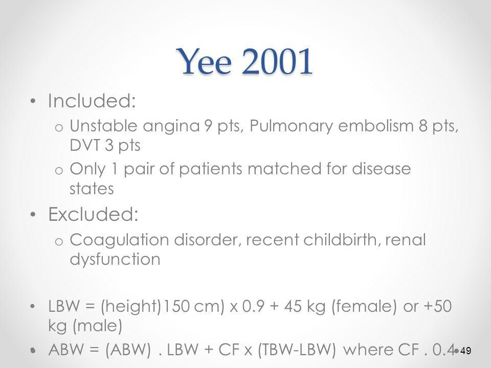 Yee 2001 Included: Excluded: