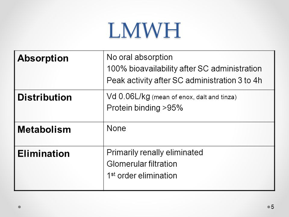LMWH Absorption Distribution Metabolism Elimination No oral absorption