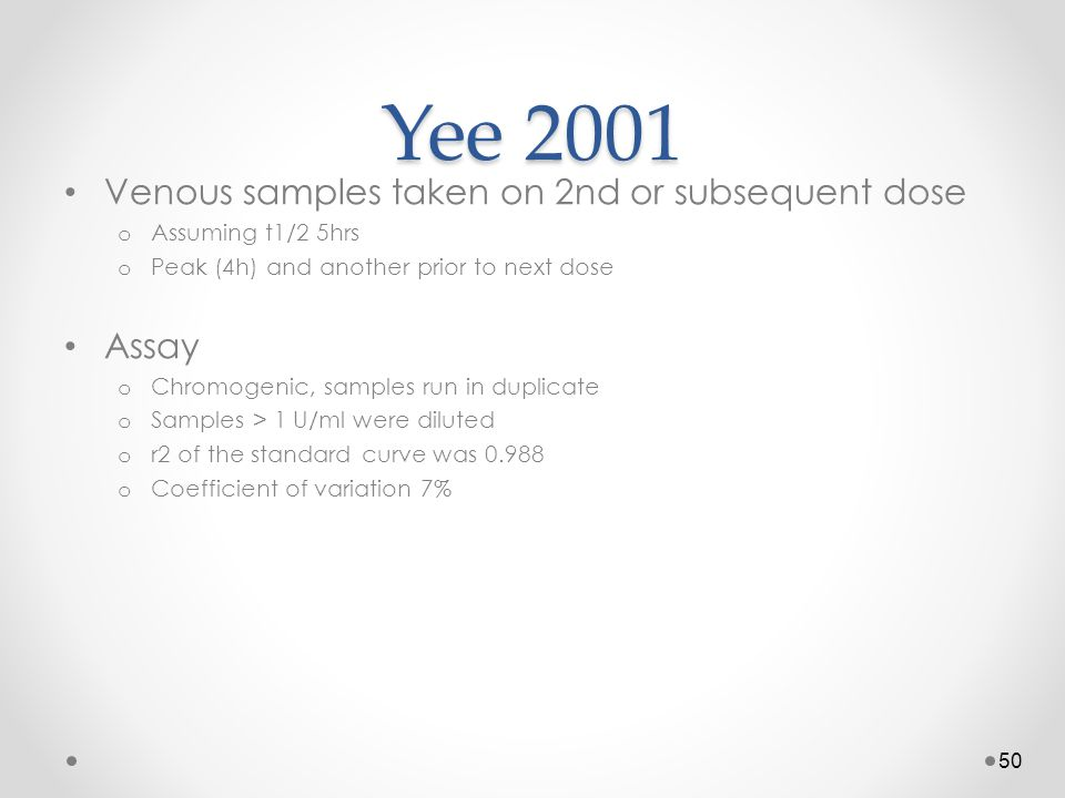 Yee 2001 Venous samples taken on 2nd or subsequent dose Assay