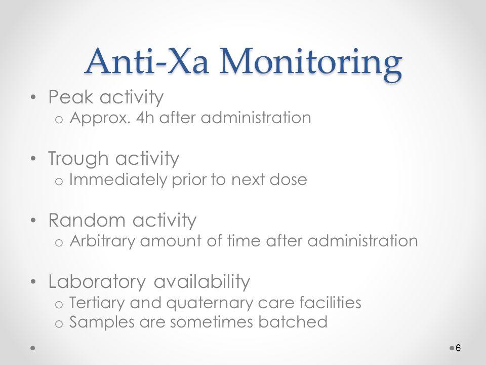 Anti-Xa Monitoring Peak activity Trough activity Random activity
