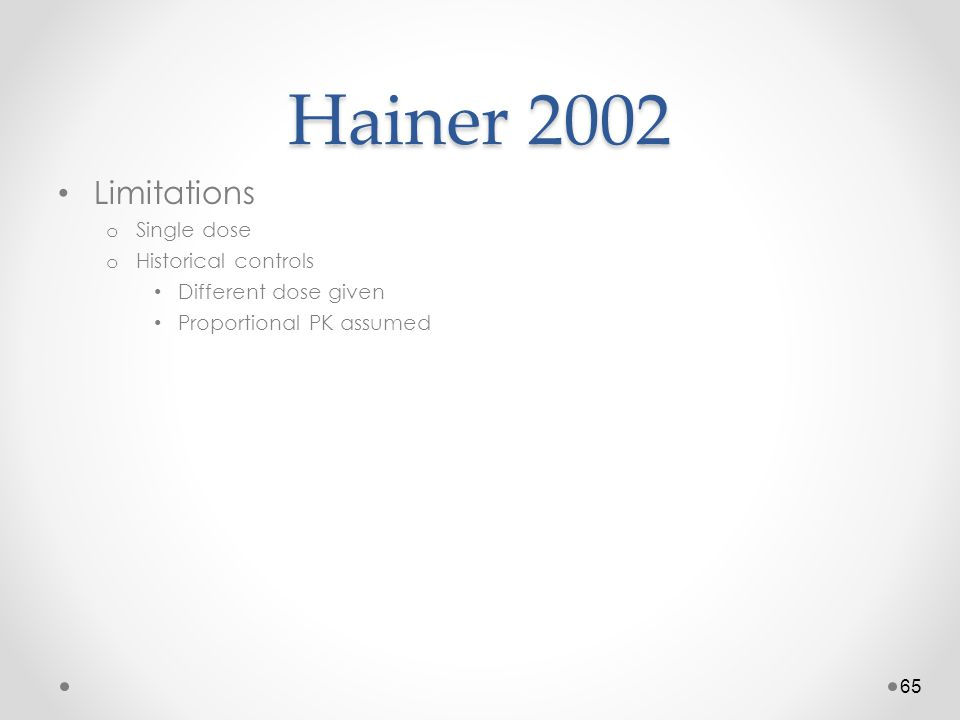 Hainer 2002 Limitations Single dose Historical controls