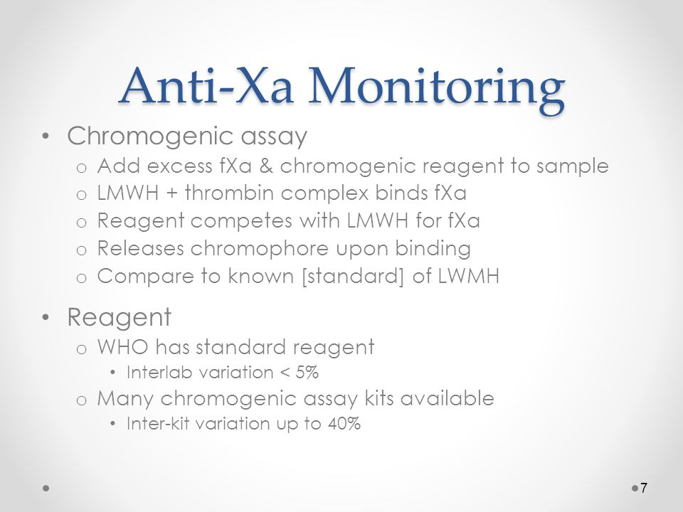Anti-Xa Monitoring Chromogenic assay Reagent