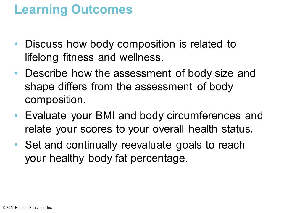 Learning Outcomes Discuss how body composition is related to lifelong fitness and wellness.