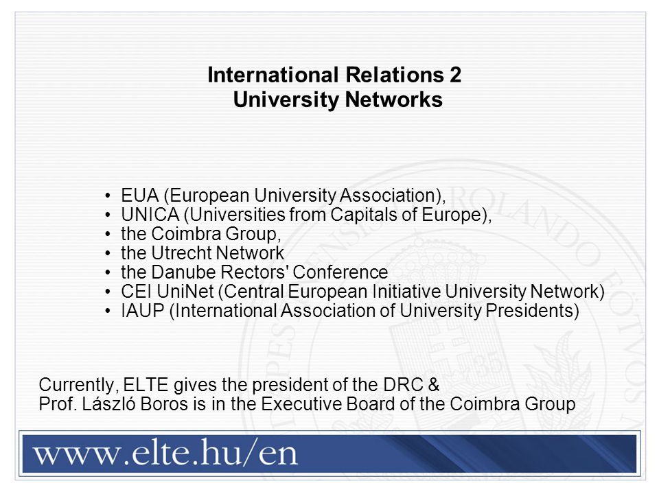 International Relations 2 University Networks