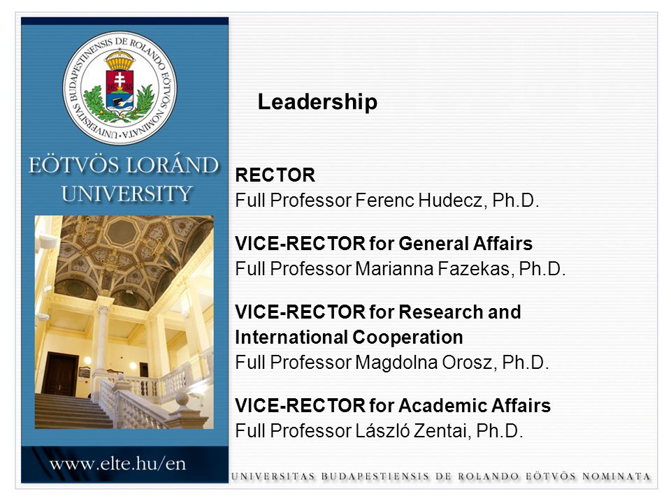 Leadership RECTOR Full Professor Ferenc Hudecz, Ph.D.