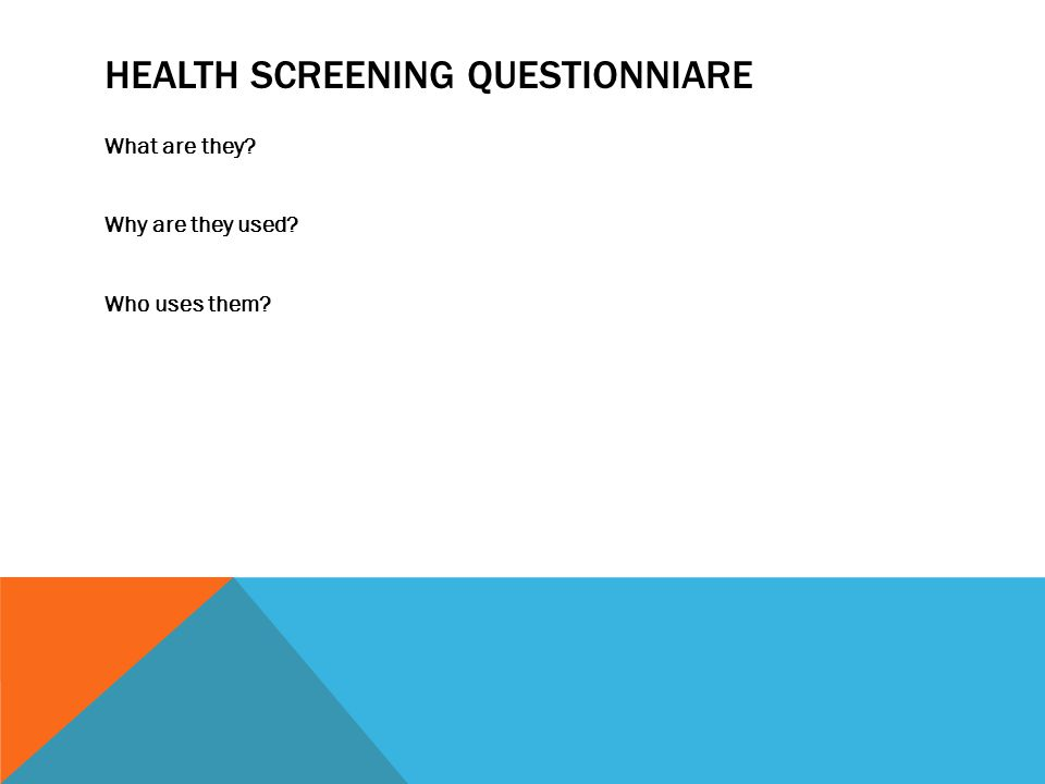 Health Screening Questionniare
