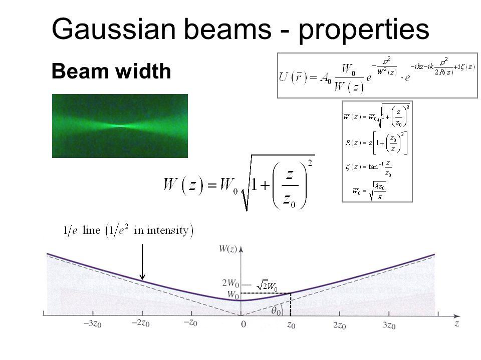Gaussian beams - properties