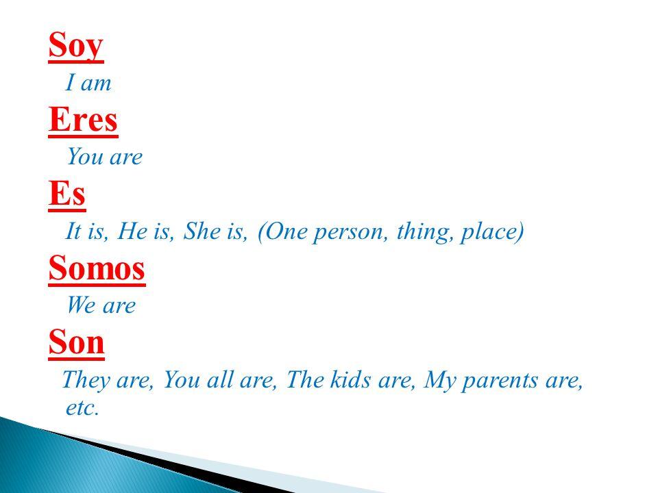 Soy Eres Es Somos Son I am You are