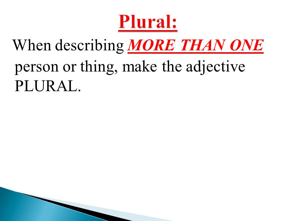Plural: When describing MORE THAN ONE person or thing, make the adjective PLURAL.