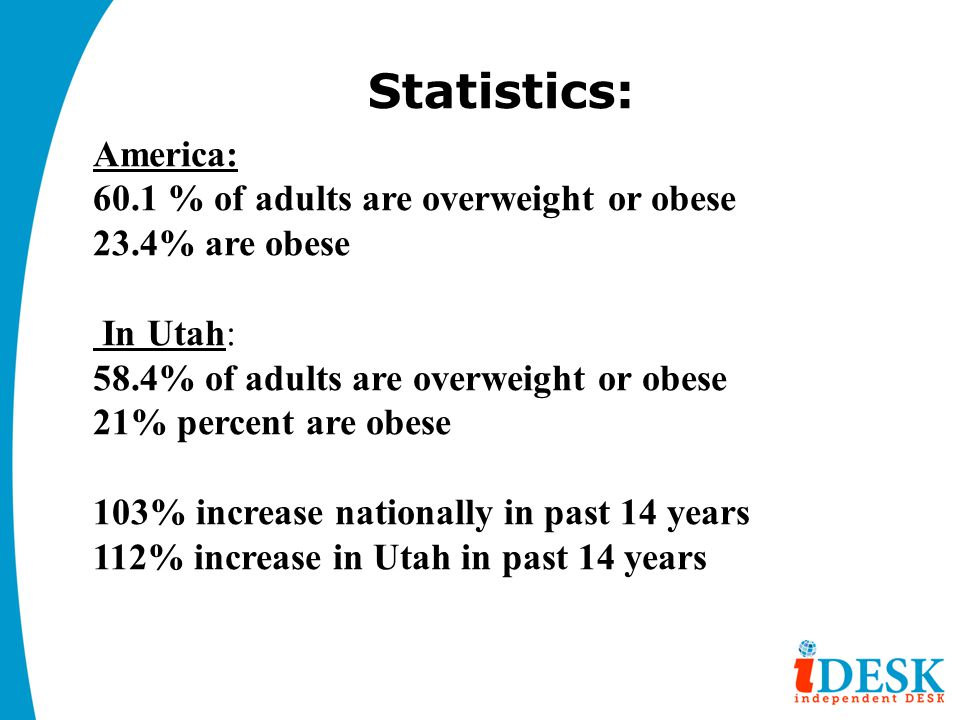 Statistics: America: 60.1 % of adults are overweight or obese