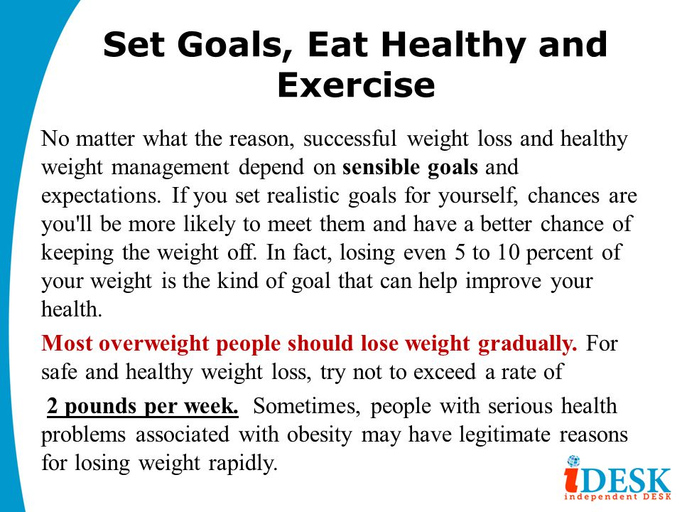 Set Goals, Eat Healthy and Exercise