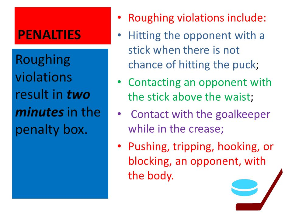 Roughing violations result in two minutes in the penalty box.