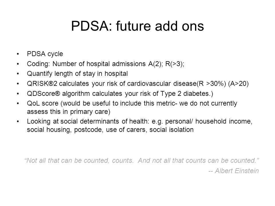 PDSA: future add ons PDSA cycle