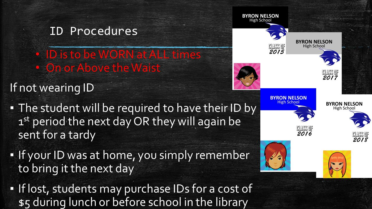 ID Procedures ID is to be WORN at ALL times. On or Above the Waist. If not wearing ID.