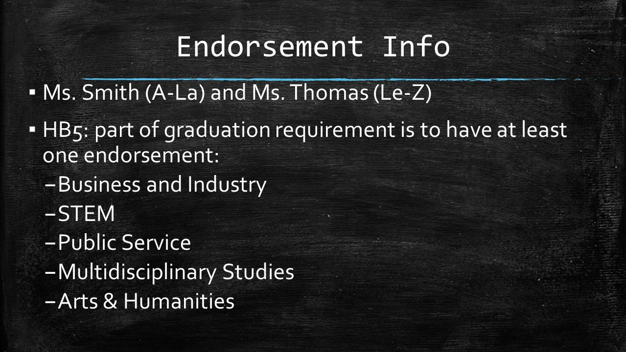 Endorsement Info Ms. Smith (A-La) and Ms. Thomas (Le-Z)