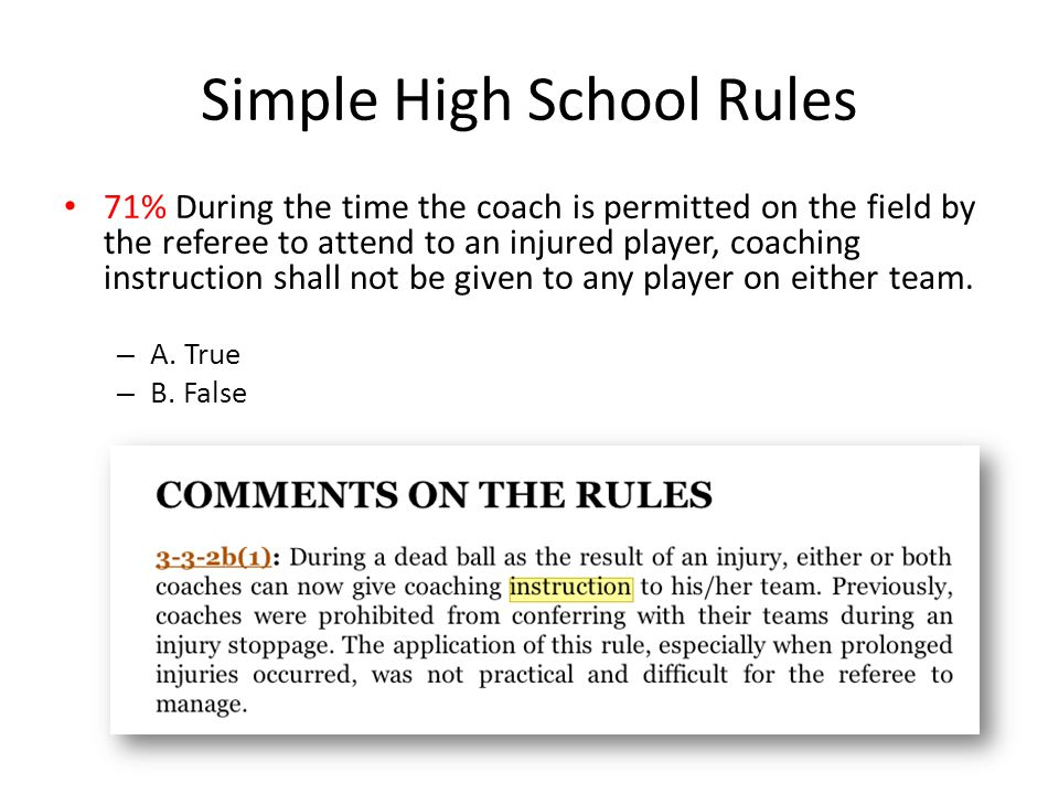 Simple High School Rules