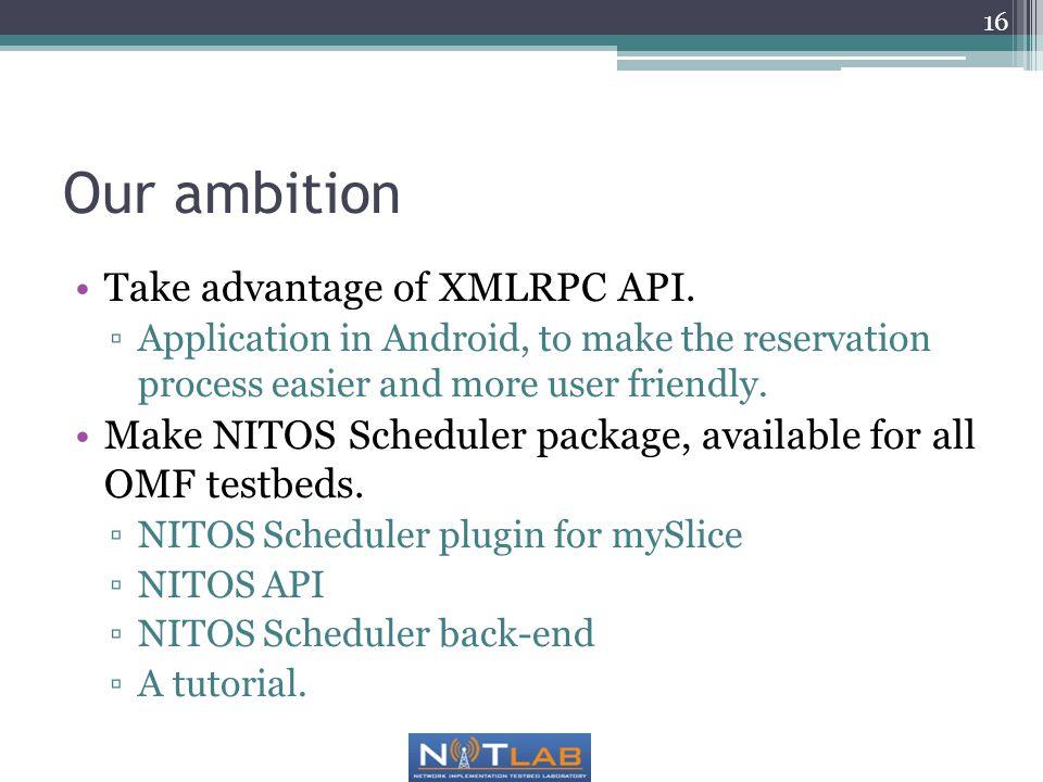 Our ambition Take advantage of XMLRPC API.