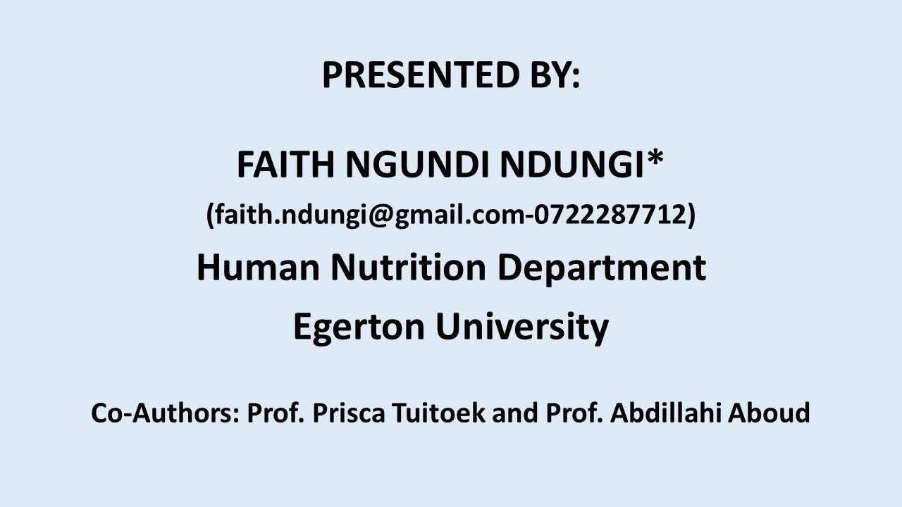 Human Nutrition Department Egerton University