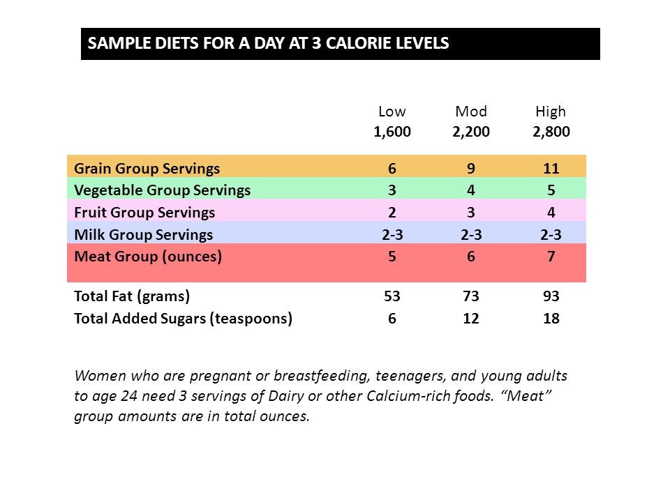 SAMPLE DIETS FOR A DAY AT 3 CALORIE LEVELS