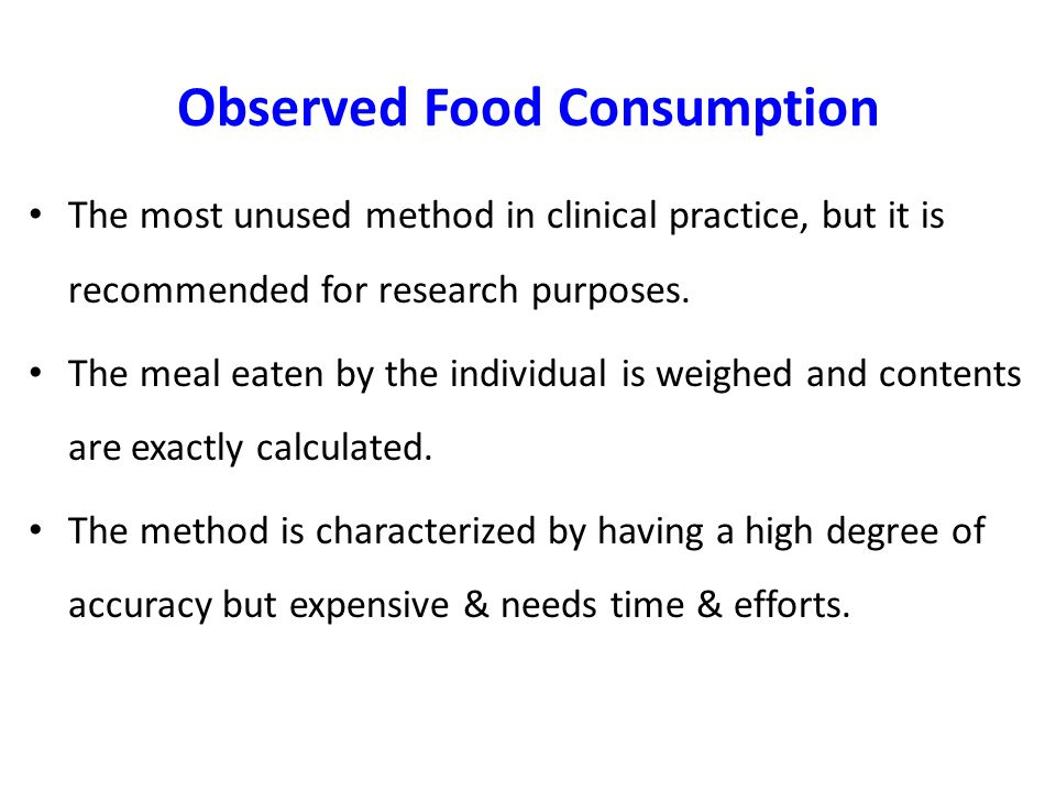 Observed Food Consumption