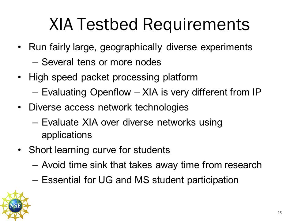 XIA Testbed Requirements