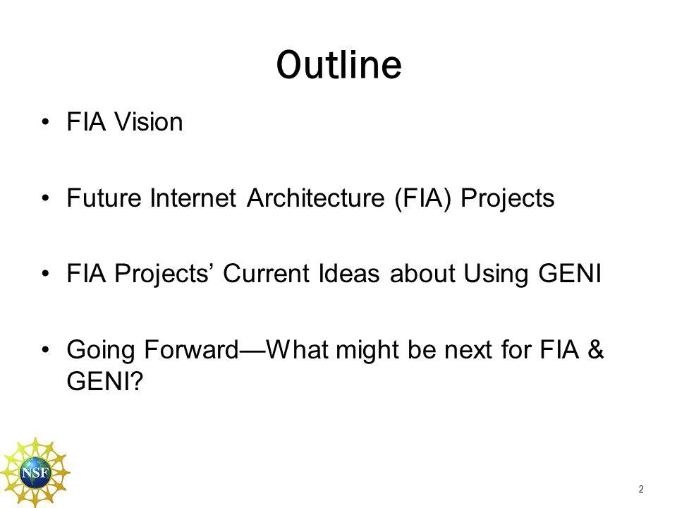 Outline FIA Vision Future Internet Architecture (FIA) Projects