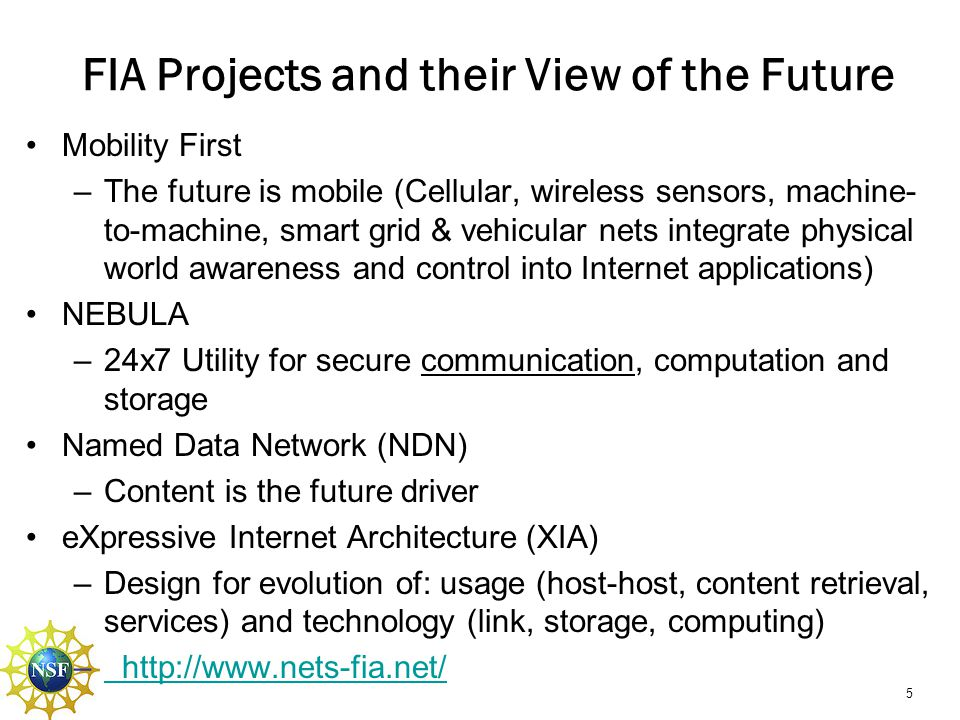 FIA Projects and their View of the Future