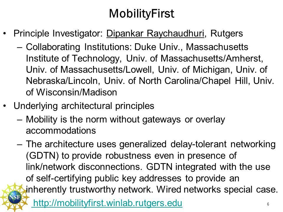 MobilityFirst Mobility Path disruption tolerance (path redundancy)